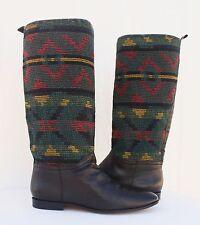Kilim Textile Riding Tall Boots VTG Black Leather Aztec South Western Women 10 M
