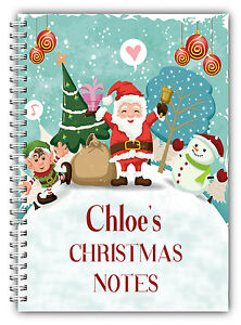 A5 PERSONALISED CHRISTMAS NOTEBOOK/ NOTE PAD LINED/ PERSONAL CHRISTMAS GIFT  06