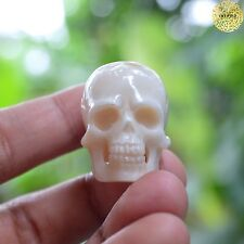 Hand Carved 25-30mm Human Skull Natural Buffalo Bone Carving Gift Undrill
