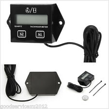 Waterproof Motor LCD Tach/Hour Meter Tachometer 2&4 Stroke Gasoline Engine Spark