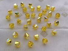 60 Swarovski #5301 6mm Crystal Citrine AB Faceted Bicone Beads