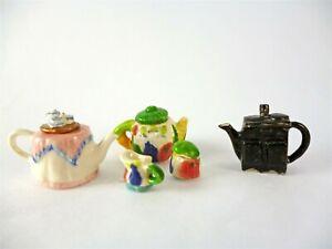 Dollhouse Miniature 3 Estate Teapots Lot, #2