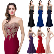 New Long Applique Evening Prom Formal Dresses Bridesmaid Dress Party Ball Gown