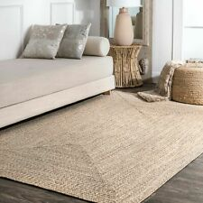 nuLOOM Braided Contemporary Modern Indoor Outdoor Area Rug in Beige Tan