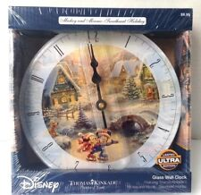 Disney Glass Wall Clock Thomas Kinkade Mickey Minnie Mouse Limited Edition