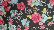Hi Multi Chiffon with Floral Printed and Black/Blue/Pink,57/59&#03 4;width,by the yard