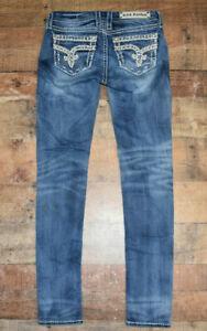 Rock Revival Mid Rise Skinny Sherry Jeans Size 27 x 32 Stretch Denim EUC B46