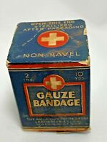 1940's American White Cross Gauze Bandage Original Box 10 Yards Made USA Vintage
