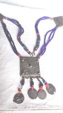 Collier marocain, perles de traite, portes talisman argent XIXeme