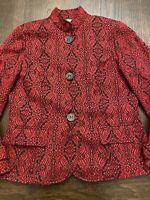 Coldwater Creek Red/Black Button Blazer, Pockets, Back Pleats - Sz 14.