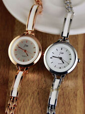 7aa97e89443 Unisex Bracelet Stainless Steel Crystal Diamonds Quartz Wrist Watch