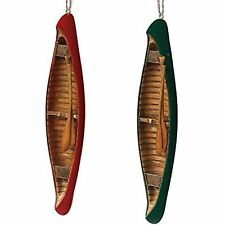 """Set of Red & Green Canoes w Paddles Ornaments, 7""""~Rustic Christmas Decor"""