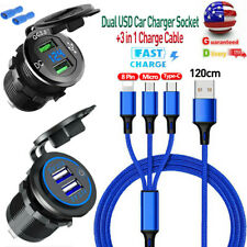 Dual Qc 3.0 Usb Fast Car Charger Socket Outlet+Type C iOs Phone Charge Cable Us