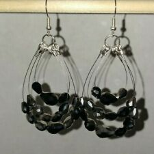 Handmade Black, Silver & Crystal Faceted Glass Beads Silver Plated Set