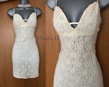 KAREN MILLEN Ivory Lace Heavy Beaded Wedding Bridal Party Mini Dress UK10 EU 38