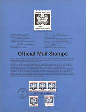 #8301-83-05 1c-$5.00 Official Mail - Scott #O127//#O135 - 5 USPS Souvenir Pages