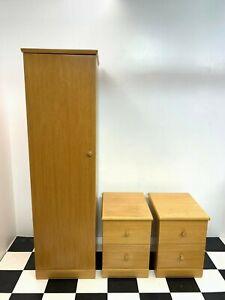 Modern J.T. Ellis New Solo oak range 3pc bedroom set wardrobe & bedside chests