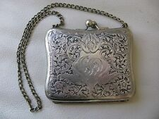 Antique Art Nouveau Silver P Card Case Coin Holder Leather Purse Compact GJD