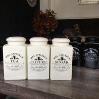 MRS APPLEBY'S SET OF TEA COFFEE SUGAR CERAMIC CANISTERS STORAGE JARS BLACK CREAM
