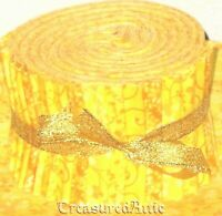 "Jelly Roll Strips Quilting Fabric 20~2.5"" Bright Yellow Mix 100% Cotton Sewing"