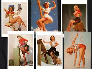 American Pin-Up Girls 1996 Postcard Set 3 Glamour Sexy Stockings Elvgren Runci