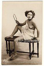 Petite nude woman w Mirror/satin nue M Miroir * vintage 20s photo pc