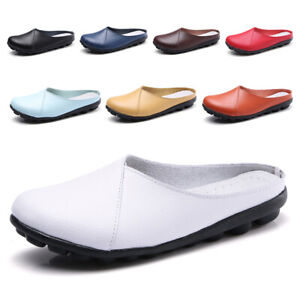 Size 3-9 Women Ladies Casual Leather Flat Shoe Non Slip Slippers Loafer Moccasin