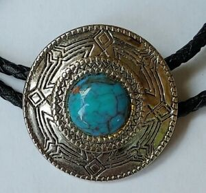 Vintage Jewelry Bolo Tie Turquoise Silver Metal Mens Western Handmade Signed?
