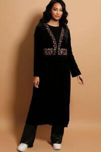 Velvet Embroidery Edged Kaftan Duster Coat Black or Brown One Size BNWT