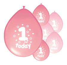"10 X 1ST BIRTHDAY GIRL BALLOONS ""1 TODAY"" FIRST BIRTHDAY BALLOONS PINK MIX"