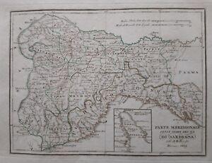 1819 Borghi Mappa Parte Meridionale delli Stati del Re di Sardegna Liguria Italy