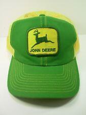 Vintage JOHN DEERE 70's 80's Green Yellow MESH Patch Trucker Hat Louisville