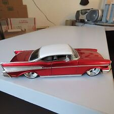 1957 CHEVY BEL AIR JADA OLD SKOOL 1:24 SCALE DIE CAST RED W/WHITE TOP