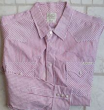Lucky Brand Candy Stripe Pearl Snap Western Work Shirt XL Red, White EXCELLENT