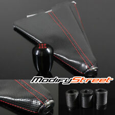 RED STITCH PERORATED SHIFT BOOT/MATTE BLACK JDM TYPE-R STYLE 5 SPEED SHIFT KNOB
