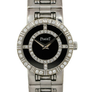 Piaget 90564 Dancer 18k White Gold 23mm Black Onyx Diamond Watch