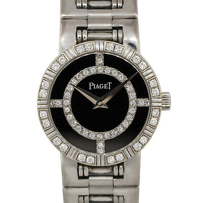 Piaget 90564 Bailarina 18k Oro Blanco 23mm Ónice Negro Reloj con Diamantes