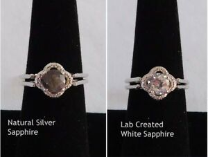 Reversible Sapphire RING Silver & White size 8 Platinum Bond/Brass 2.30 cts.