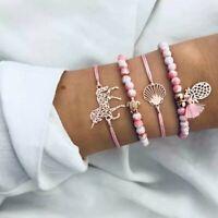 4 teiliges Armband Set Armreif Bohemian Indi Modeschmuck Einhorn Muschel Pink
