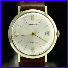 VINTAGE HAMILTON AND HUGUENIN 14K SOLID GOLD SELF WINDNG MENS WATCH