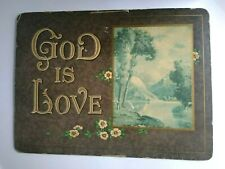 Very Old 1940s Vintage Print on Board Mountain Flowers GOD is LOVE Wall Sign