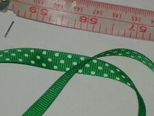 green polka dot grosgrain ribbon fabric polyester made in USA 100 Yards x 3/8""