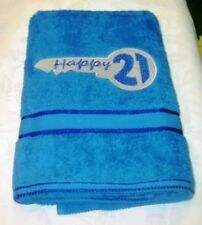 EMBROIDERED  BATH TOWEL  -  'HAPPY 21ST'