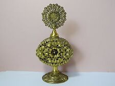 Tall Vintage Gilded ORMOLU Filigree Perfume Bottle w/ Glass Dauber Vile Inside