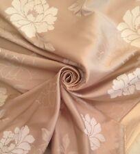 9 Metres Gold & White Prestigious Sateen & Chenille Flower Curtain Fabric
