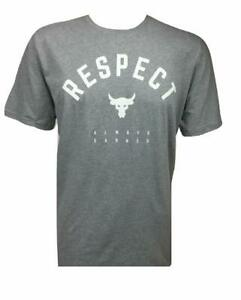 Under Armour Mens UA Project Rock Respect T-Shirt 1347698-035 Gray/White NWT