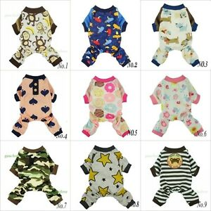 Fitwarm Cute Dog Clothes Pet Pajamas Puppy Shirt Cat Apparel Cotton Small Medium