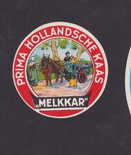 Ancienne petite étiquette Fromage Hollande  BN23113 Cheval Carriole