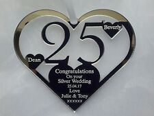 WEDDING ANNIVERSARY GIFT, PERSONALISED 25TH SILVER ,  KEEPSAKE