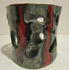 "Vintage glazed artist made red-gray 4.75"" pot with many geometrical openings VGC"